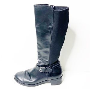 Franco Sarto Black Leather Cordon Tall Riding Boot